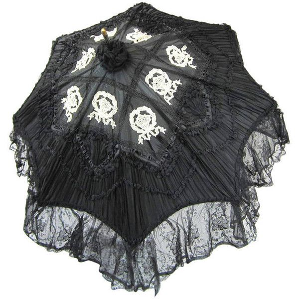 Preowned Early Silk & Lace Heavily Detailed Parasol Circa 1900's... ($2,500) ❤ liked on Polyvore featuring accessories, umbrellas, parasols, black, other, multiple, victorian umbrella and lace umbrella