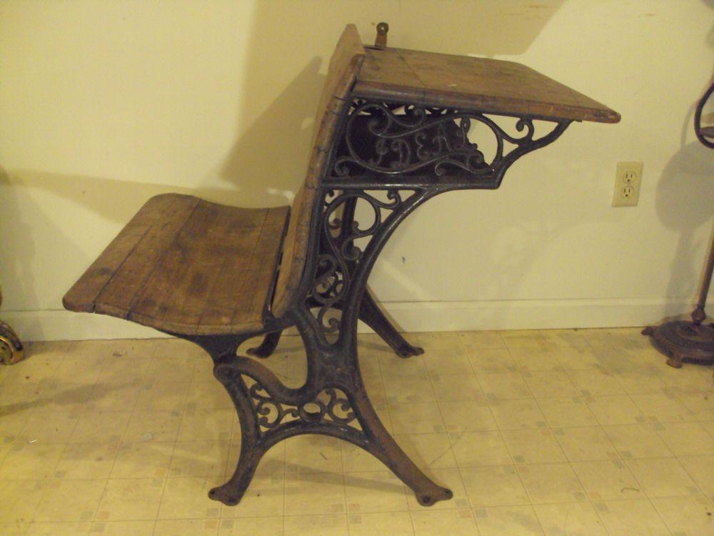 RARE Antique 1882 'IDEAL' Cast Iron Student School Desk W/ Fold-up - RARE Antique 1882 'IDEAL' Cast Iron Student School Desk W/ Fold-up