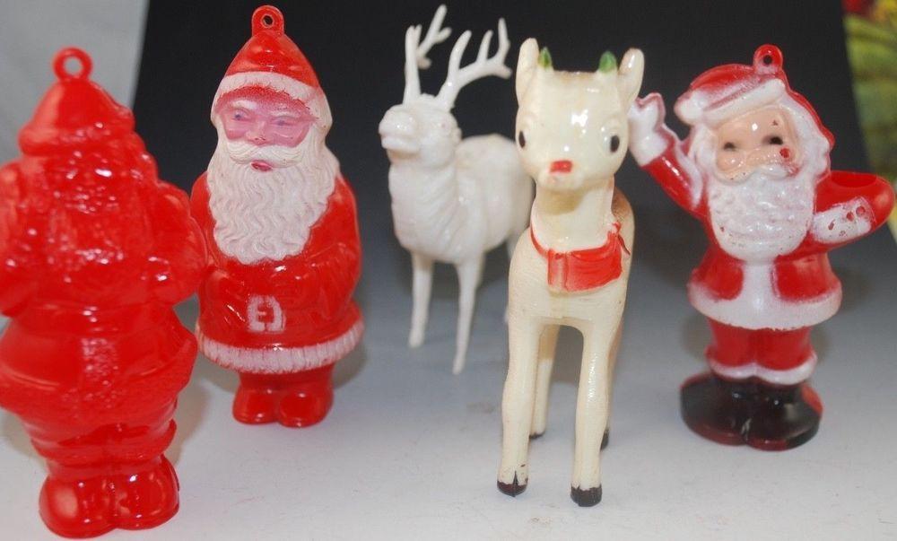 Vintage Plastic Christmas Rosbro Santa And Reindeer Box 14