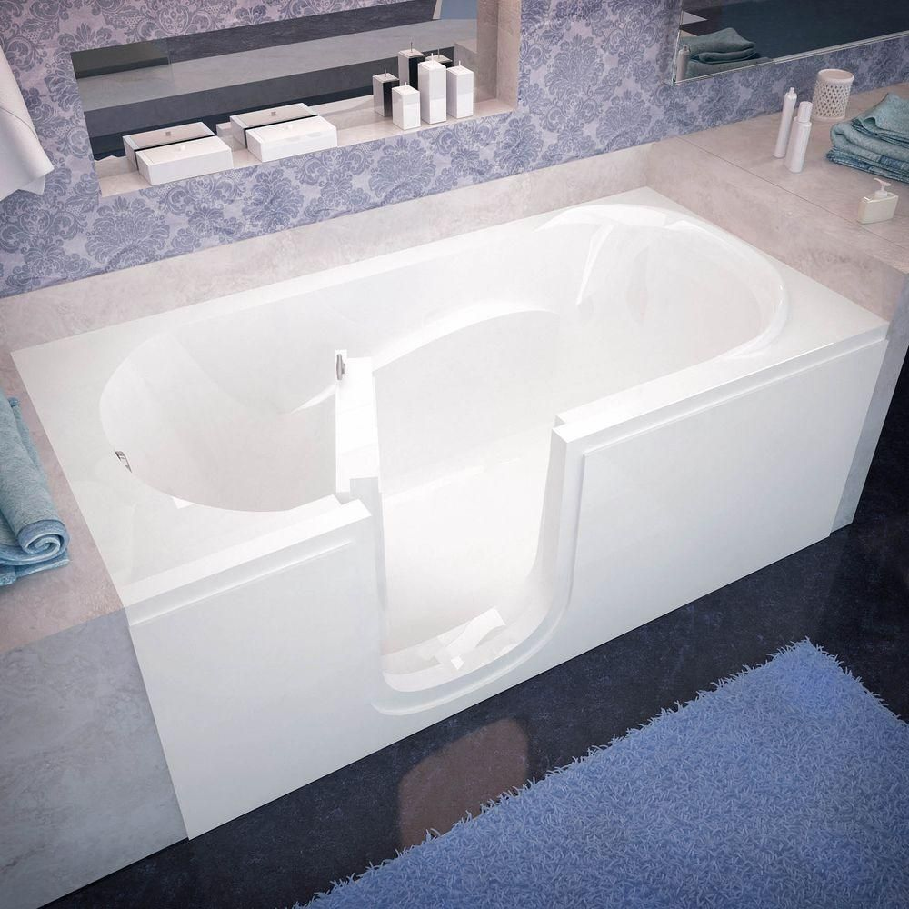 Universal Tubs Hd Series 60 In Left Drain Step In Walk In Soaking Bath Tub With Low Entry Threshold In White