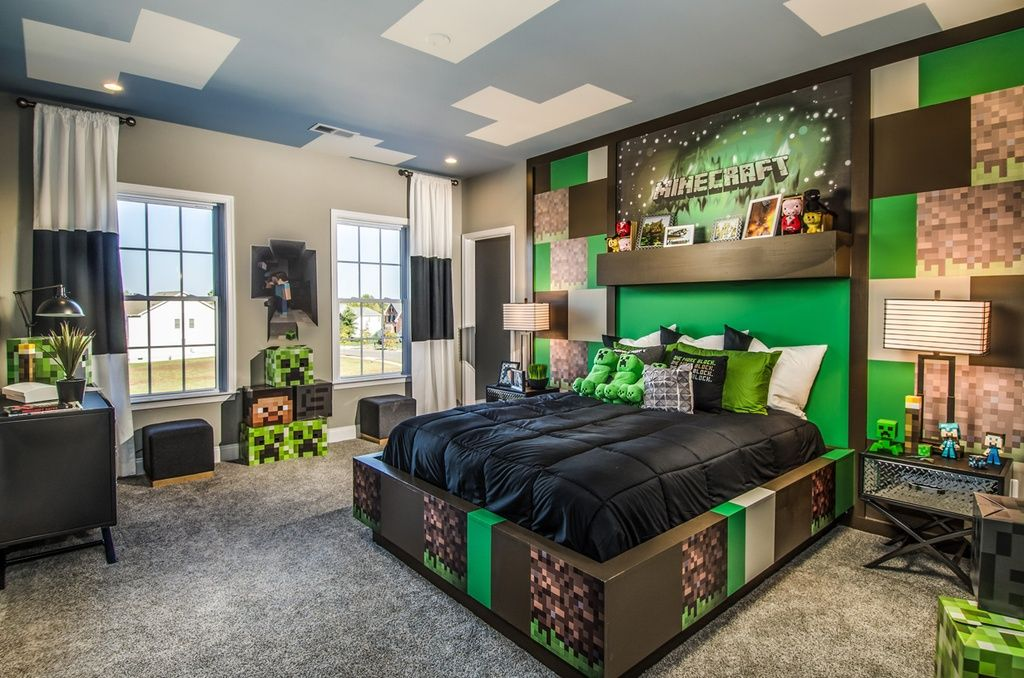 Kids Bedroom Minecraft contemporary kids bedroom with minecraft box head - steve, carpet