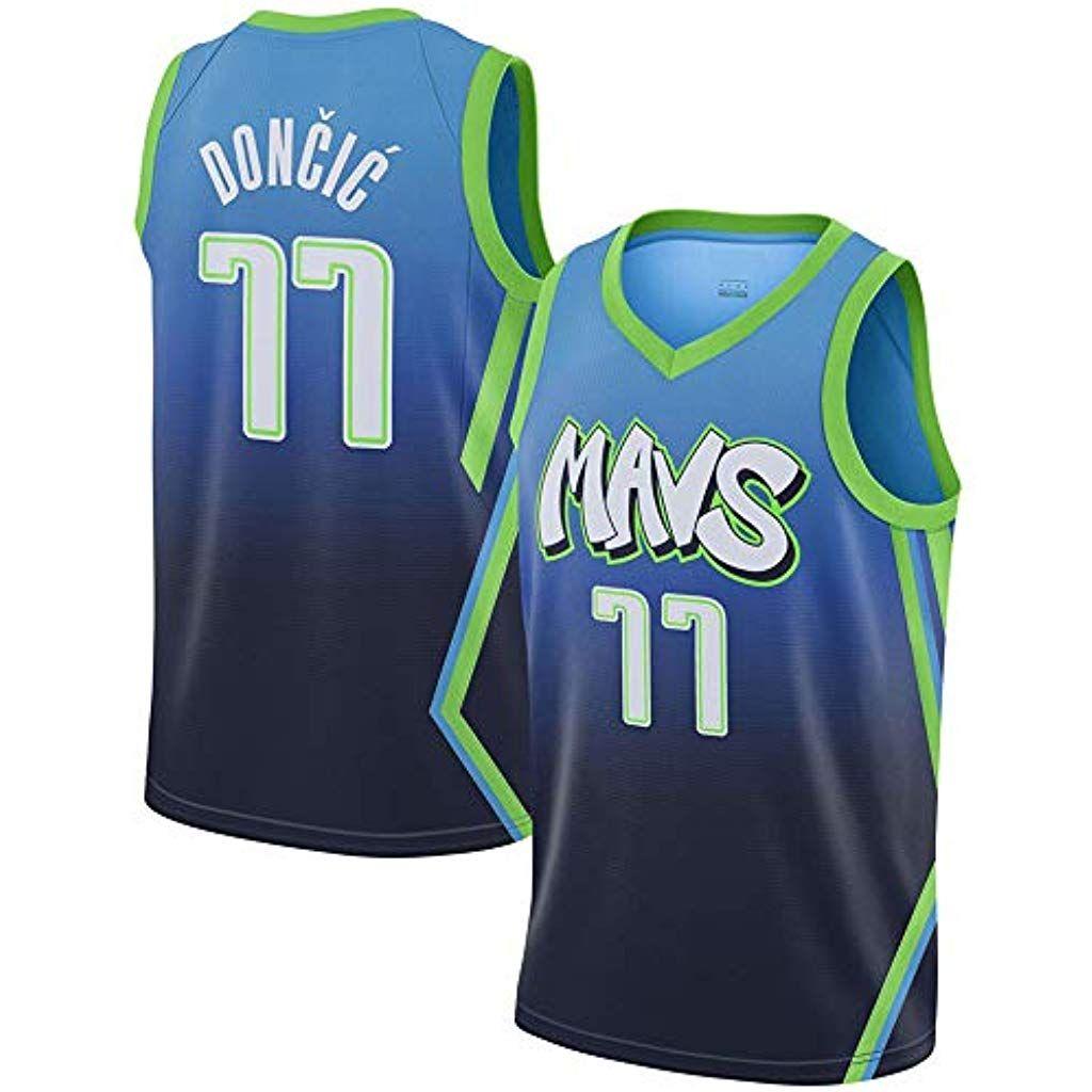 HGsports Dallas Mavericks Doncic #77 T-Shirt de Basket-Ball Manches Courtes Hommes