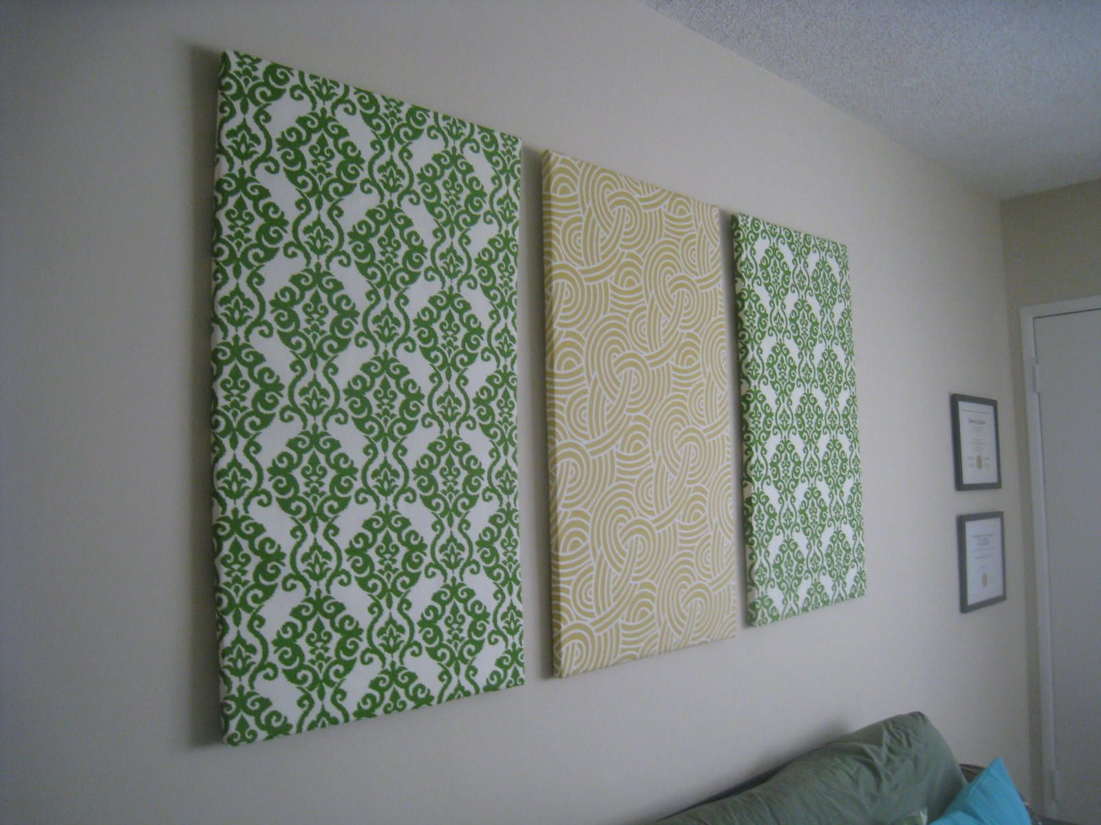 Diy Fabric Wall Art I M Going To Try This With Grey And Purple Maybe An Anagram On The