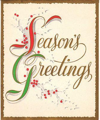 Vintage christmas card seasons greetings holly gold red green made vintage christmas card seasons greetings holly gold red green made in usa ebay m4hsunfo