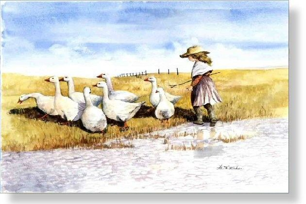 Herding Geese - Faye Whittaker Arts, All Our Yesterdays Cross Stitch and Original Art Wesbsite