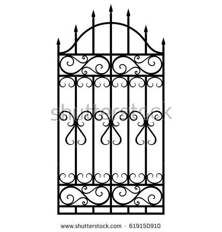 Vector Illustration Wrought Iron Modular Railing And Fence