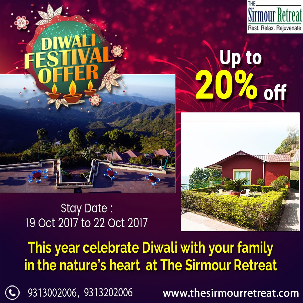 Start your #Festive season with a #Vacation and get up to 20% off on booking with  the SirmourRetreat