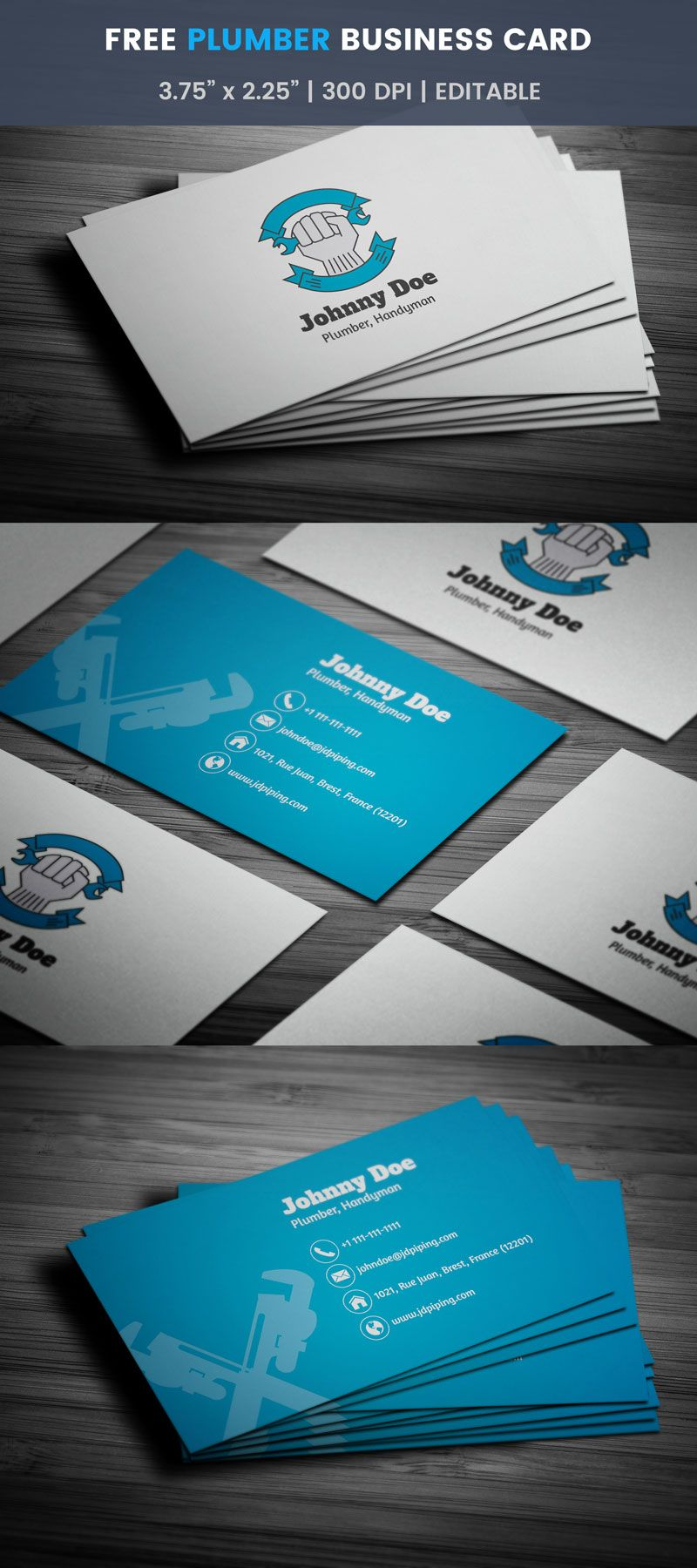 Plumber Business Card Full Preview