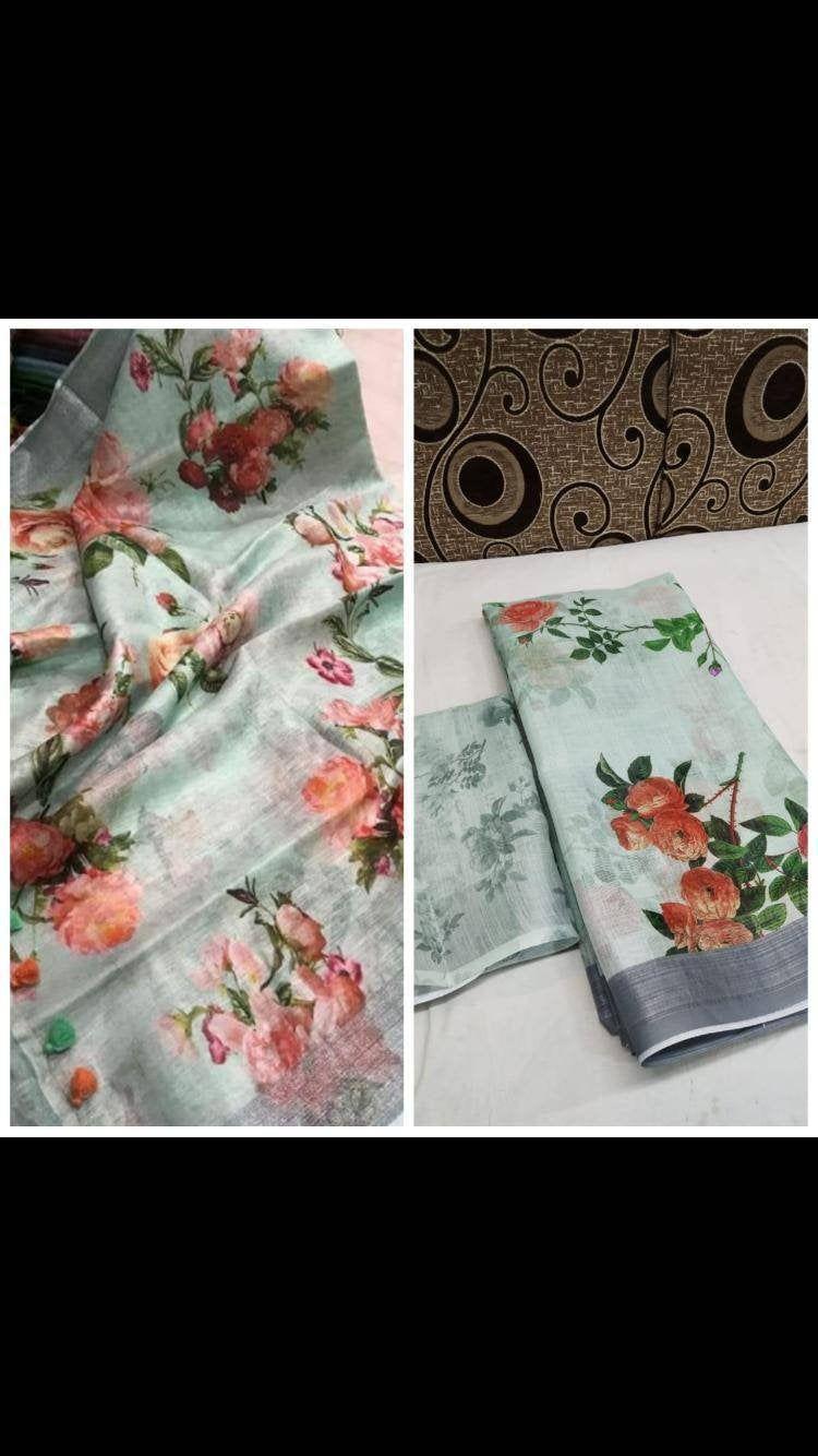 Photo of Original Linen Silk Hd digital Print with Silver Jari Border, Designer saree, indian saree, saree for women, wedding saree, saree blouse