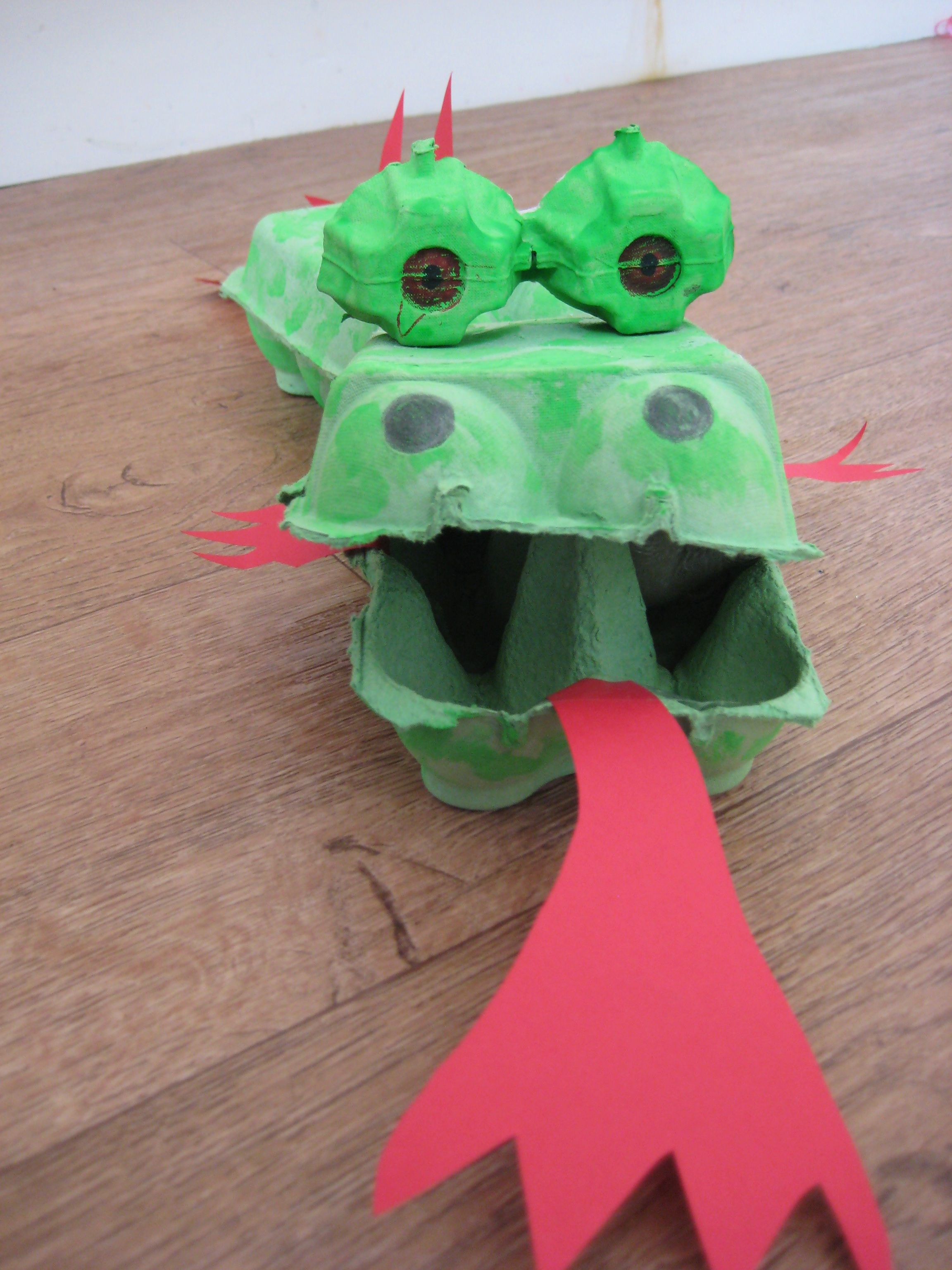 Make A Dragon Toy Egg Box Dragon Red Paper, Toys And Scissors