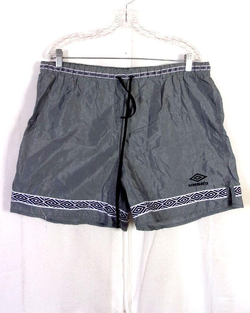 d630f9e18 vtg 80s 90s retro Umbro Men's Gray Silver Nylon Soccer Shorts USA made sz L