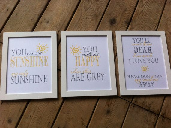 You are my sunshine DIY Print at Home Instant Download set of 3 8x10 prints on Etsy, $12.00 CAD