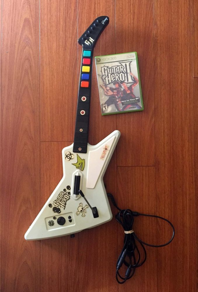 XBOX 360 Red octane Gibson Xplorer Wired Guitar Hero 2
