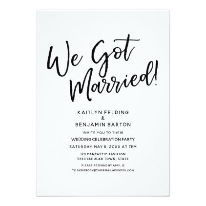 We Got Married Casual Script Wedding Reception Card Party Gifts