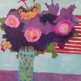 "Daily Painters of New Mexico - Contemporary Fine Art International: Contemporary Abstract Still Life Flower Art Painting ""WILDFLOWERS #1"" by Santa Fe Artist Annie O'Brien Gonzales"