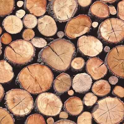 97710 - Stacked Logs - Natural - Wood - Rustic - Wallpaper