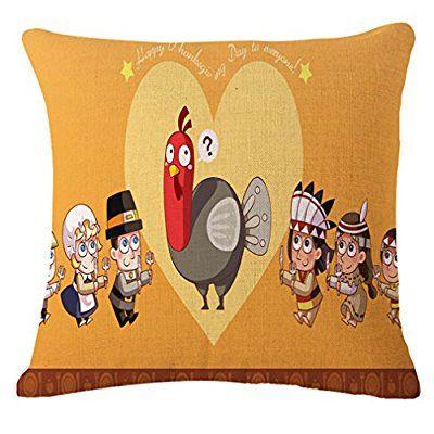Leioh Cotton Linen Thanksgiving Turkey Pattern Home Decor Throw Pillow Case Thanksgivin Holiday Throw Pillow Covers Throw Pillow Cases Decorative Throw Pillows