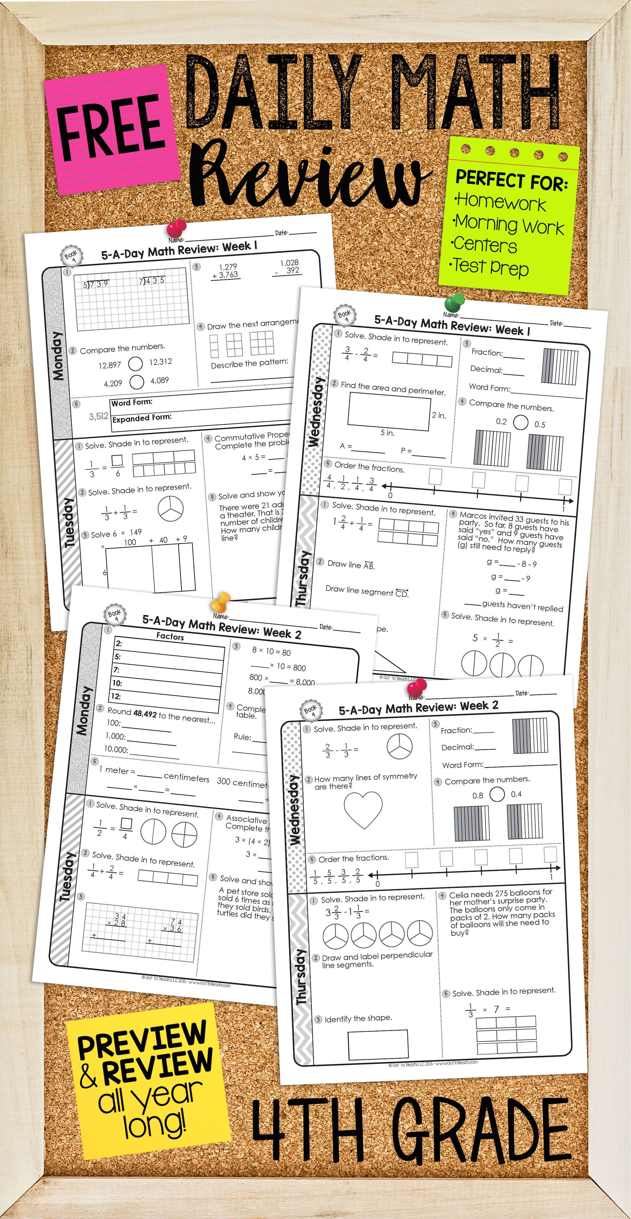 Free two weeks of daily math review for 4th grade. Preview and ...