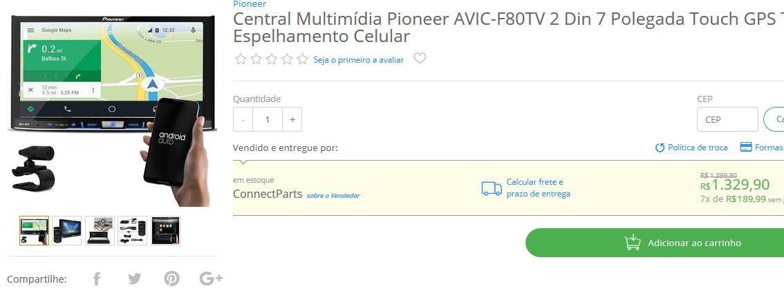 Central Multimídia Pioneer AVIC-F80TV 2 Din 7 Polegada Touch GPS TV Espelhamento Celular << R$ 132990 em 7 vezes >>