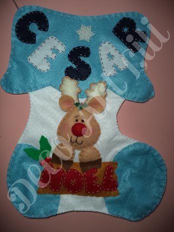 Bota navide a reno arte en fieltro navide o christmas for Manualidades renos navidenos