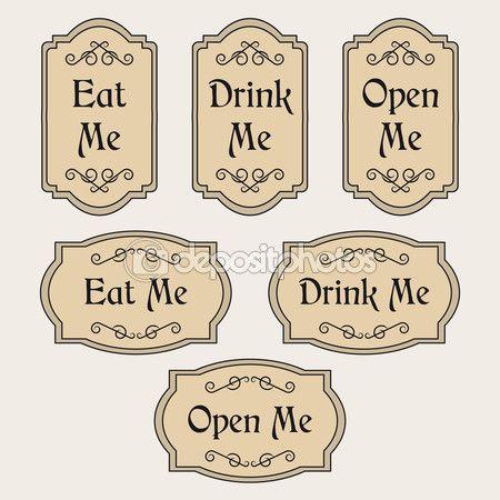 Comer beber me abre etiquetas vintage vector de stock - Etiquetas para velas ...