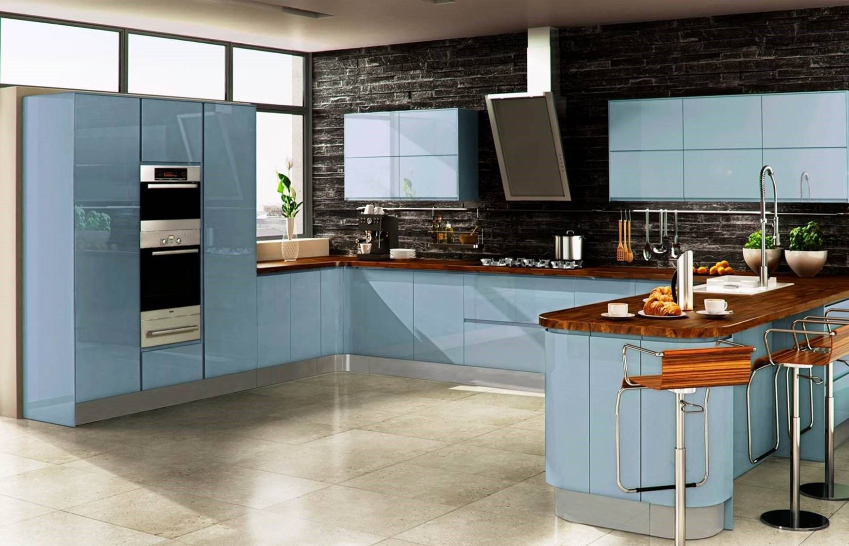 Inline High Gloss Sky Blue Contemporary Kitchen by Sheraton ...