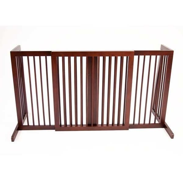 Freestanding Wide Wooden Pet Gate 105 140cm With Side Panels Dog