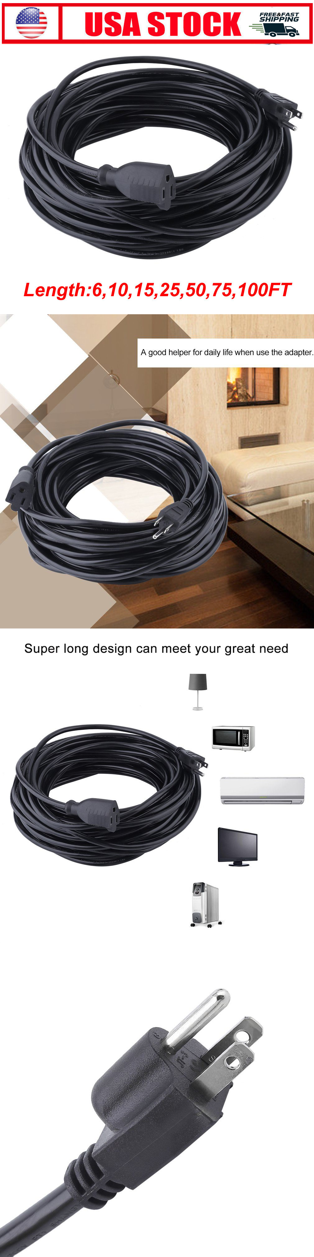 Extension Cords 75577: Premium Electric Cable Power Extension Cord 6 ...