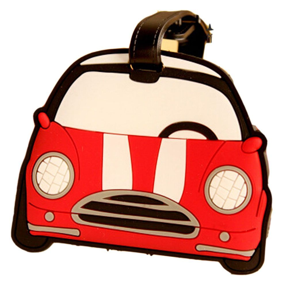 Set of 2 Portable Luggage Tags Silicone Name Tags Unique Luggage Tags Red Car
