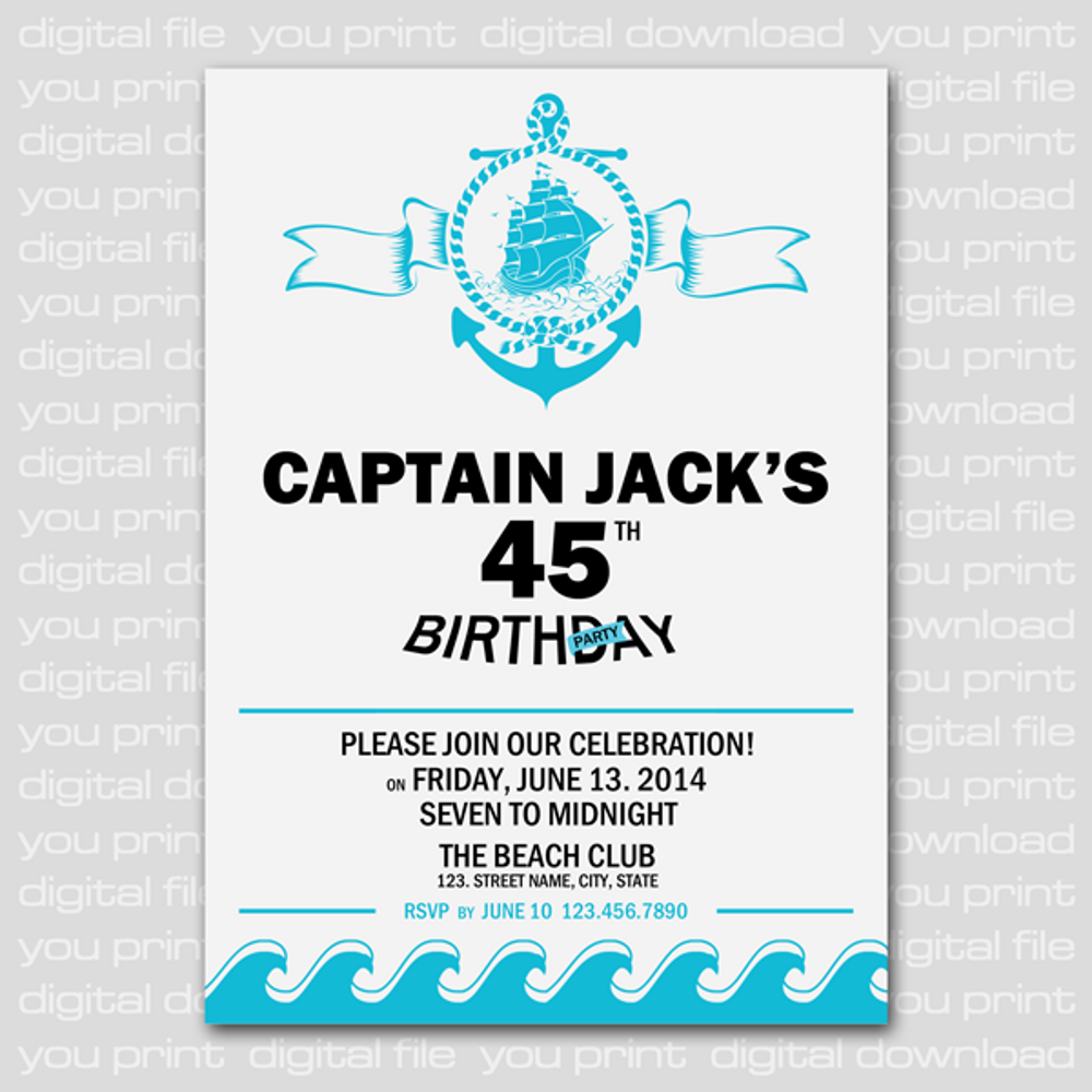 Anchor & Boat Nautical Birthday Party Invitation Card, Adult Party ...