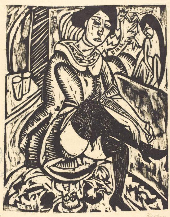 Woman Tying Her Shoe (Frau, Schuh Zuknopfend) Ernst Ludwig Kirchner 1912