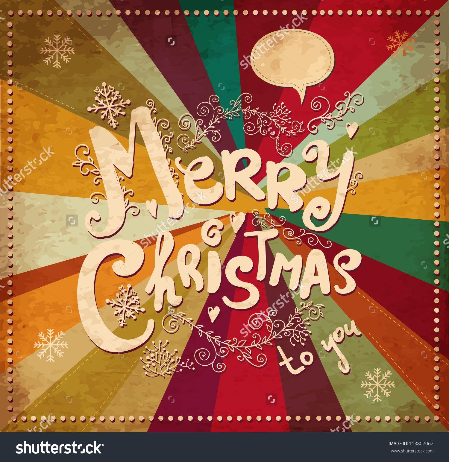 Vintage Vector Christmas Card 113807062 Shutterstock