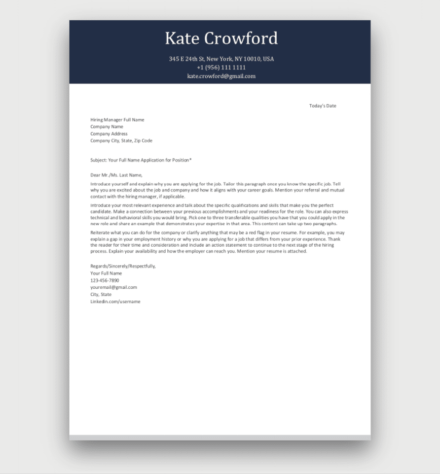 Cover Letter Template - Download for Free   Cover letter ...