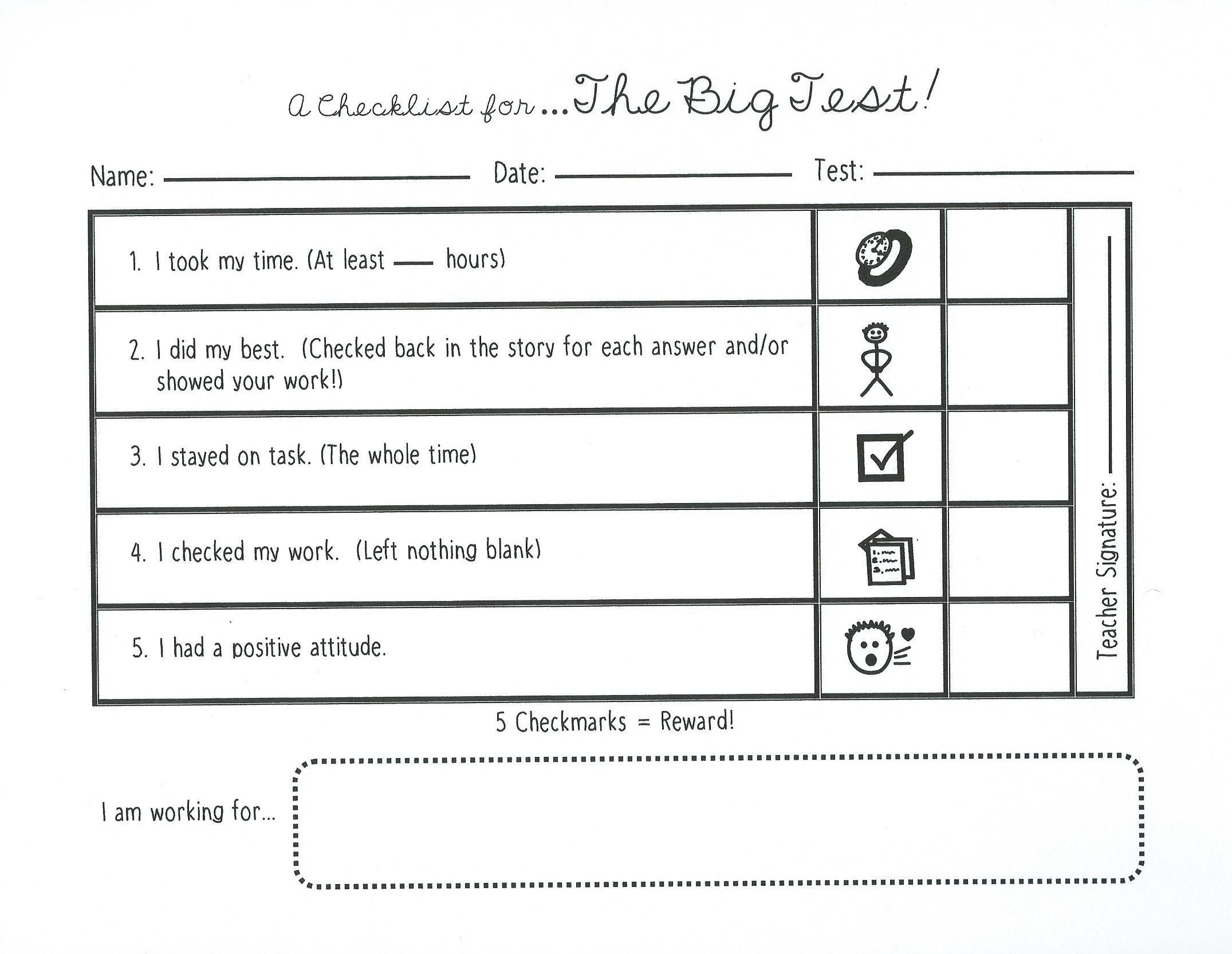 State Testing Checklist