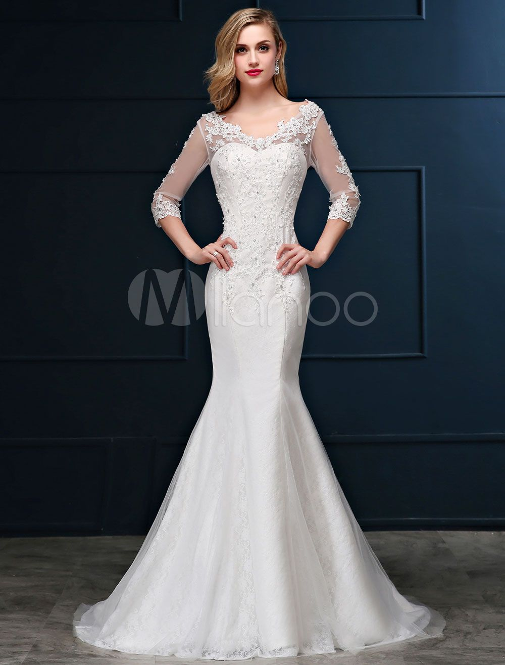 Mermaid wedding dress lace long sleeve bridal dress v neck beaded