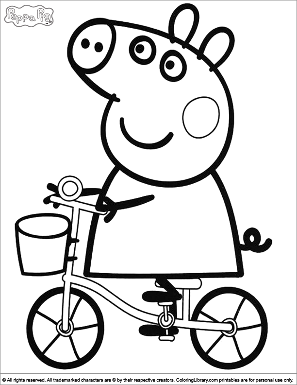 peppa pig molde bike peppa pig coloring pages for kids - Peppa Pig Coloring Pages Kids