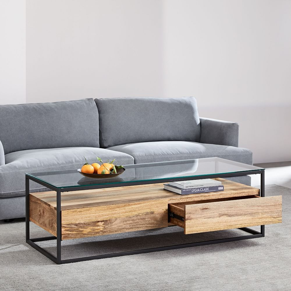 Box Frame Storage Coffee Table Large Coffee Table Reclaimed Wood Coffee Table Industrial Coffee Table