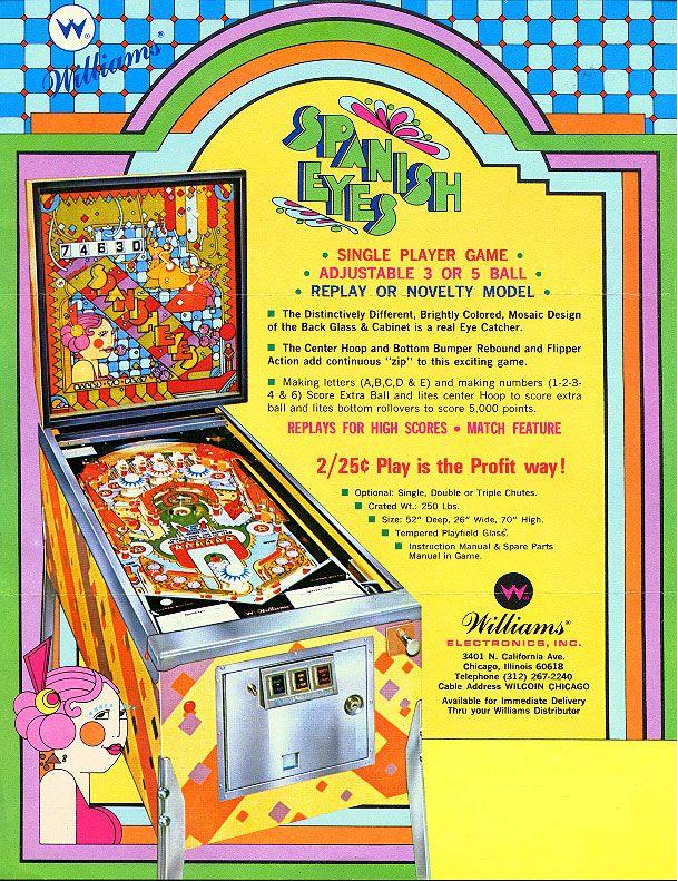 Rod S Pinball Video Blog 1972 Williams Spanish Eyes Pinball Machine Pinball Spanish Eyes