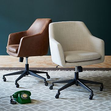 Retro Office Chair in Fabric with Nailhead Trim  Modern home