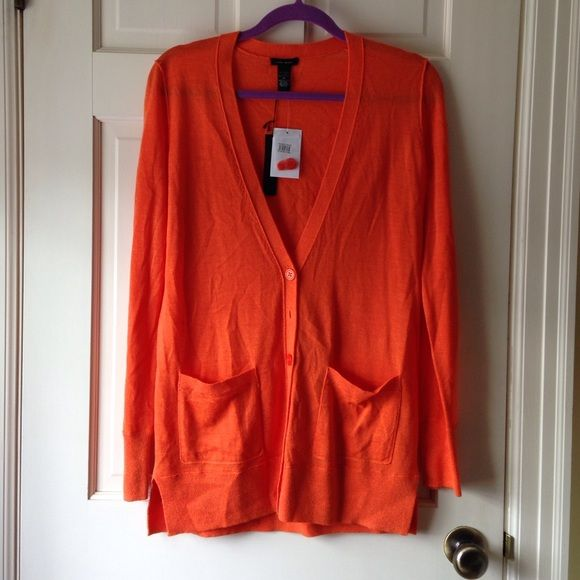 Fun Bright Orange Cardigan Super bright, orange cardigan new with tags! Brand: only mine. 50% merino wool, 50% acrylic. Sweaters Cardigans