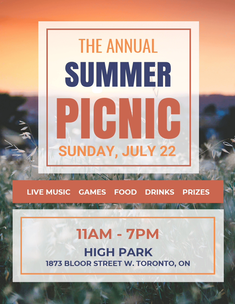 colorful square picnic event flyer idea venngage flyer examples