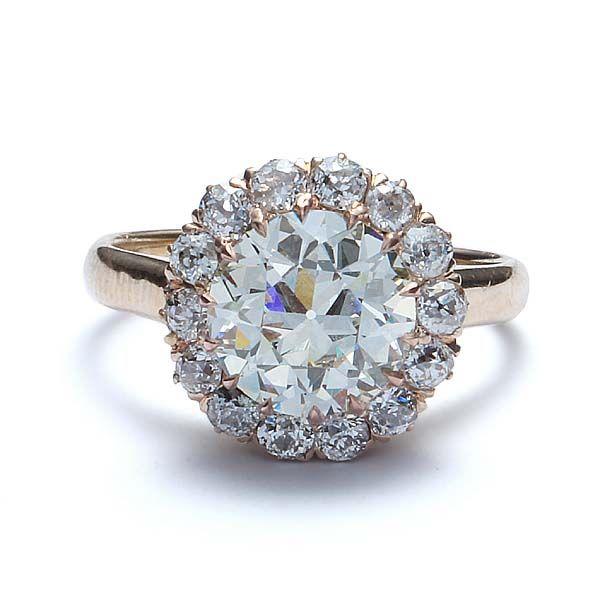 Stunning Edwardian Diamond Halo Engagement Ring