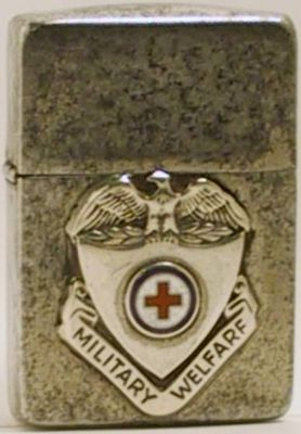 World Map Zippo Lighter. This 1941 Zippo has a  military welfare emblem and Red Cross During
