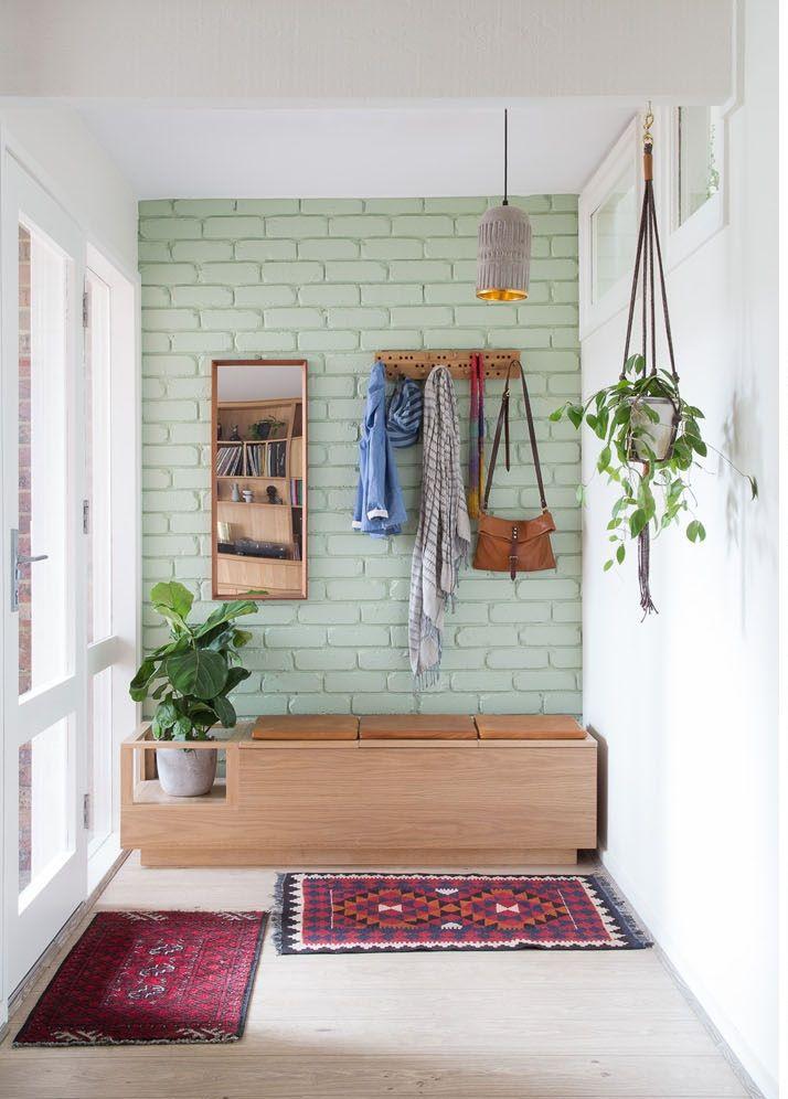 Brave New Eco Love The Painted Brick And Custom Cabinetry Brick Interior Wall Brick Interior Brick Wall Decor