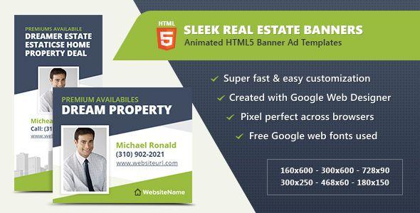 HTML Ads Sleek Real Estate Banner Templates Banner Template And - Google web designer templates
