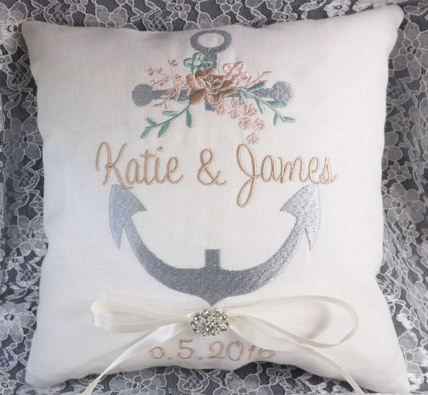 Flowered Anchor with Names Ring Pillow Ring Bearer Pillow