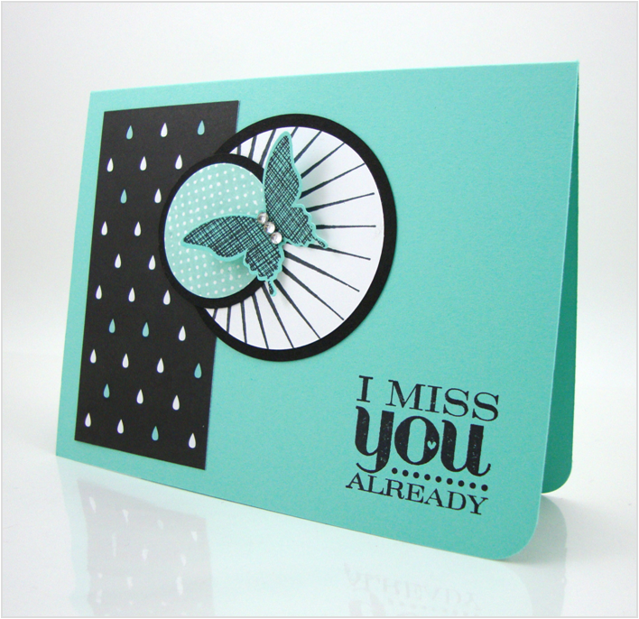 Stampin' Up! .... handmade card .. Kinda Eclectic stamp set ... turquoise with black and white .. luv it!
