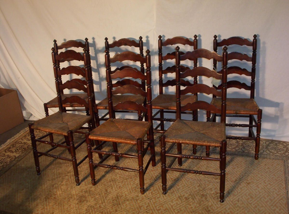 Ladder back dining chair google search primitive Ladder back chairs