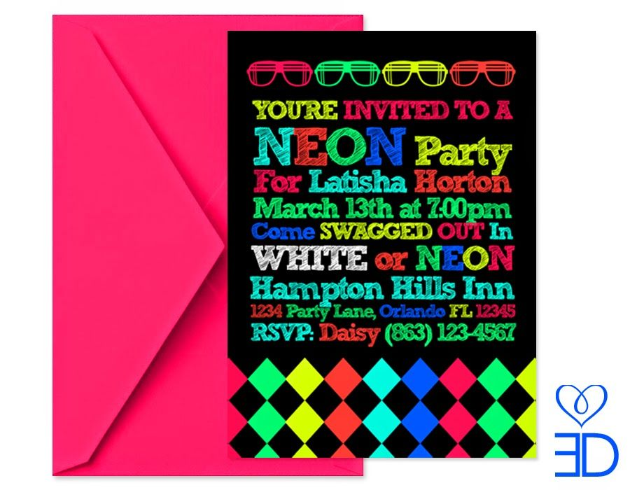 neon party invitations template 405rml5b