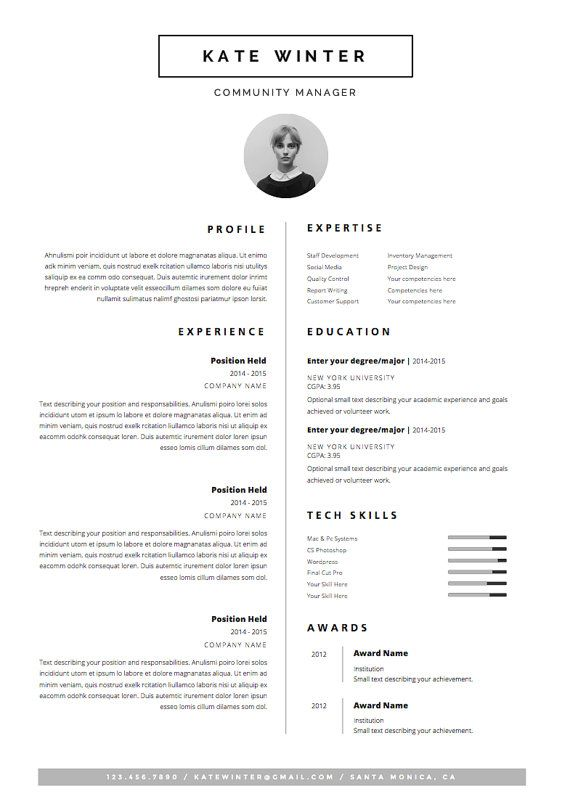 minimal resume template for word 1 2 page cv by oddbitsstudio